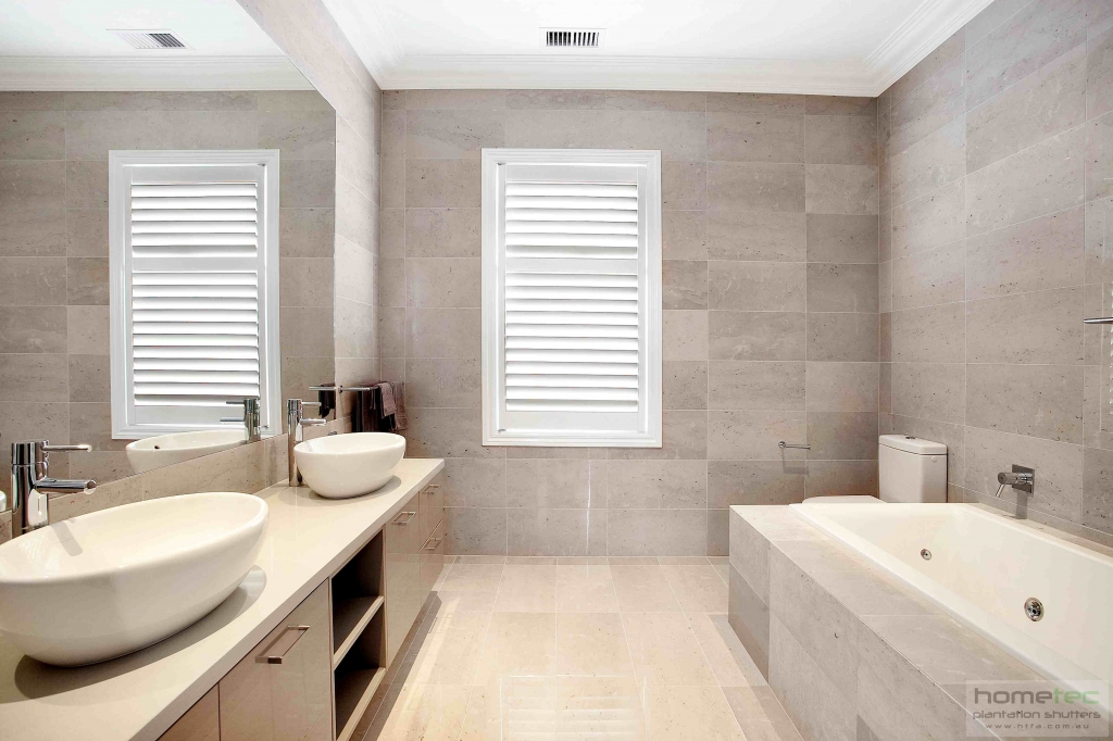 White Painted Bathroom Shutters